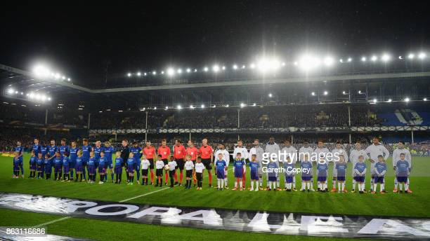 Players officials and mascots line up with the #equalgame banner prior to the UEFA Europa League Group E match between Everton FC and Olympique Lyon...