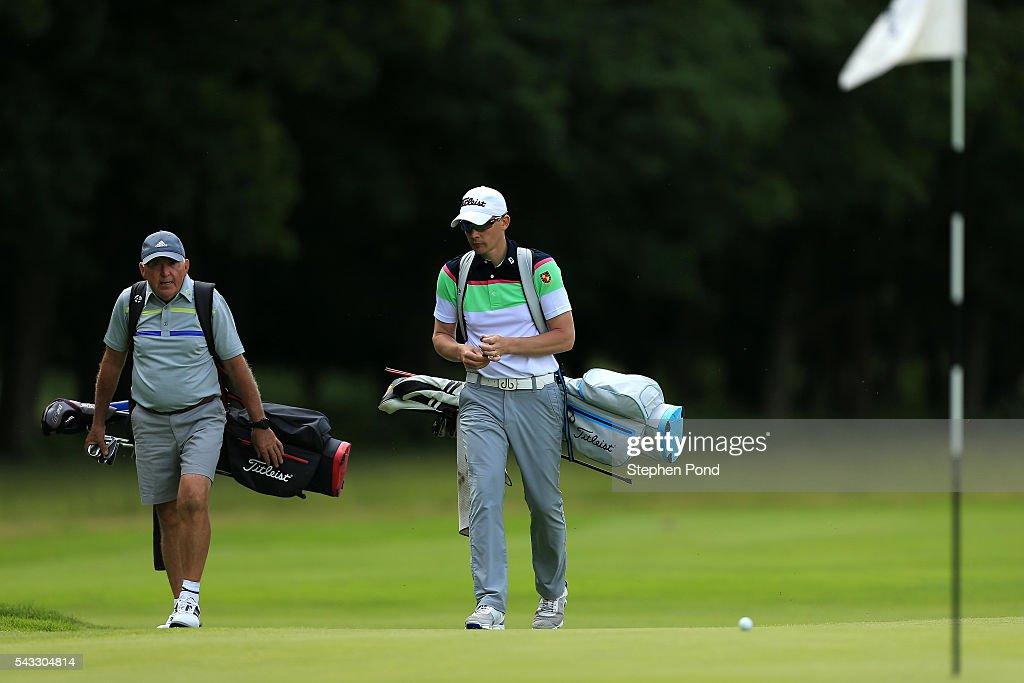 Players on a green during the PGA Fourball Qualifier at Ashridge Golf Club on June 27, 2016 in Ashridge, England.
