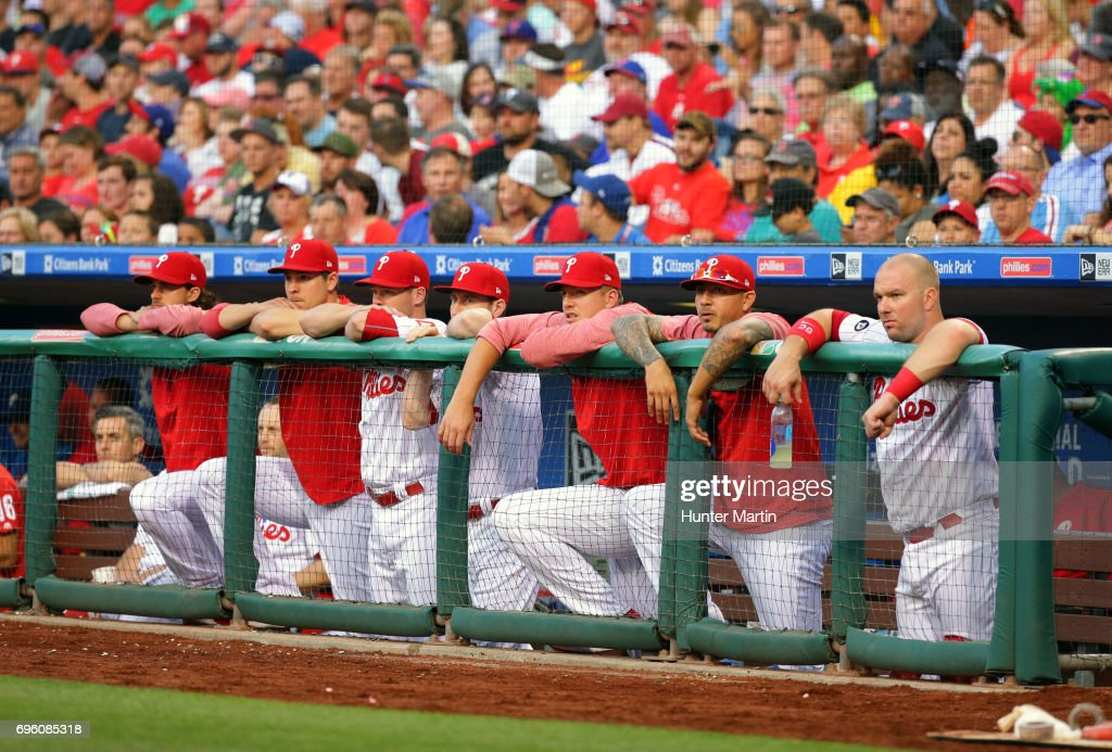 Players on the bench of the Philadelphia Phillies watch the action in the third inning during a game against the Boston Red Sox at Citizens Bank Park on June 14, 2017 in Philadelphia, Pennsylvania. The Red Sox won 7-3.