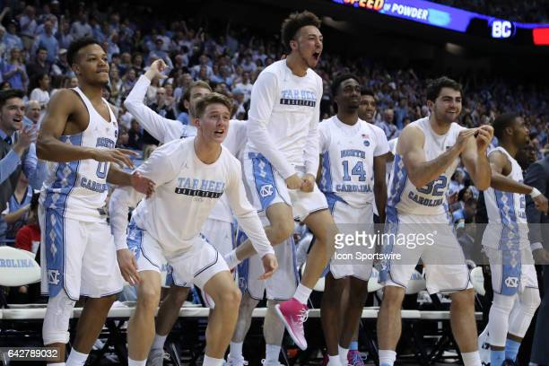 UNC players on the bench react to a basket by their team The University of North Carolina Tar Heels hosted the University of Virginia Cavaliers on...