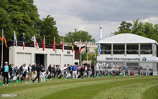 Players on the driving range during a practise round for the BMW PGA Championship at Wentworth on May 24 2016 in Virginia Water England