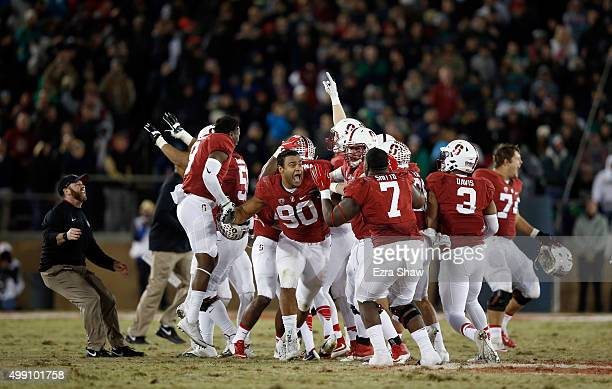 Players on the Stanford Cardinal including Solomon Thomas celebrate after Conrad Ukropina of the Stanford Cardinal kicked a gamewinning field at the...