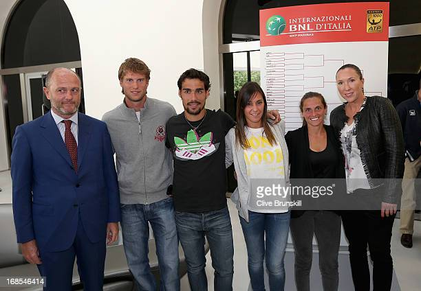 Players only Andreas Seppi Italy Fabio Fognini Italy Flavia Pennetta ItalyRoberta Vinci Italy and Jelena Jankovic Serbia pose for a photograph at the...