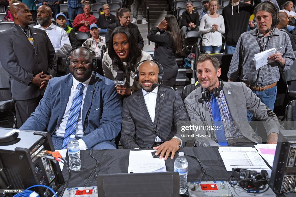 Players only reporters Shaquille O'Neal, Lisa Leslie, Derek Fisher and Brent Barry are seen at the game between the Denver Nuggets and the Los Angeles Lakers on March 13, 2017 at the Pepsi Center in Denver, Colorado.