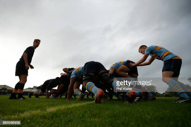 Players pack down for a scrum during the schoolboy First XV rugby match between Mt Albert Grammar and Auckland Grammar at Mt Albert Grammar School on...