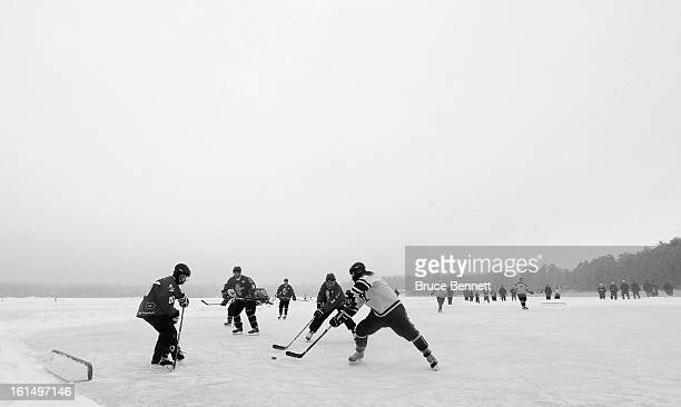 Players participate in the 2013 USA Hockey Pond Hockey National Championships on February 10 2013 in Eagle River Wisconsin The three day tournament...