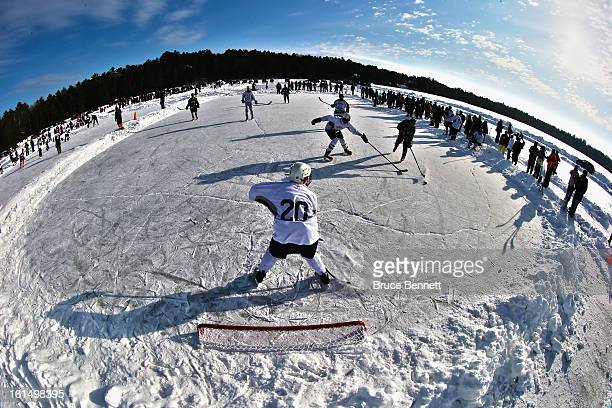 Players participate in the 2013 USA Hockey Pond Hockey National Championships on February 9 2013 in Eagle River Wisconsin The threeday tournament...