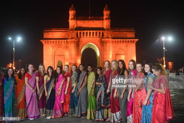 Players participating in the LT Mumbai WTA Open tennis tournament which got underway share an Indian moment draped in sarees at the Gateway of India...