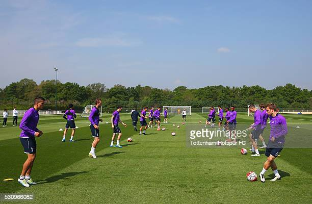 Players pass the balll during a Tottenham Hotspur training session at the Tottenham Hotspur Training Centre on May 12 2016 in Enfield England