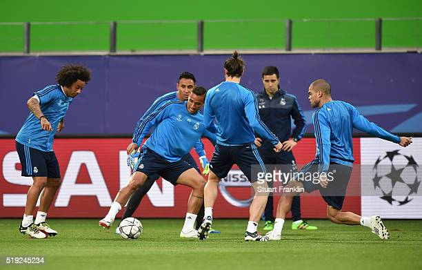Players perform drills during a Real Madrid training session ahead of their UEFA Champions League quarter final first leg match against Wolfsburg at...
