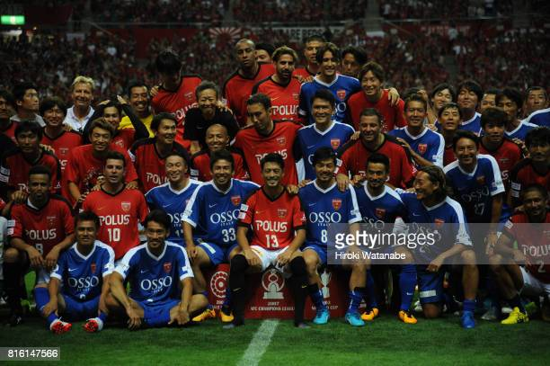 Players photograph for after the Keita Suzuki testimonial match between Reds Legends and Blue Friends at Saitama Stadium on July 17 2017 in Saitama...