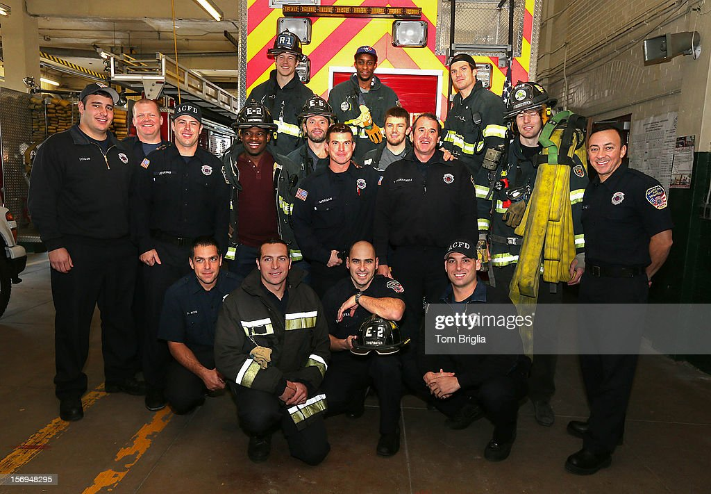 Players (L-R) PK Subban, Matt Martin,Jody Shelly, Wayne Simmons, Braydon Coburn David Clarkson and James Van Riemsdyk from Operation Hat Trick visit Atlantic City Fire Station #2 and meet with first responders on November 24, 2012 in Atlantic City, New Jersey.
