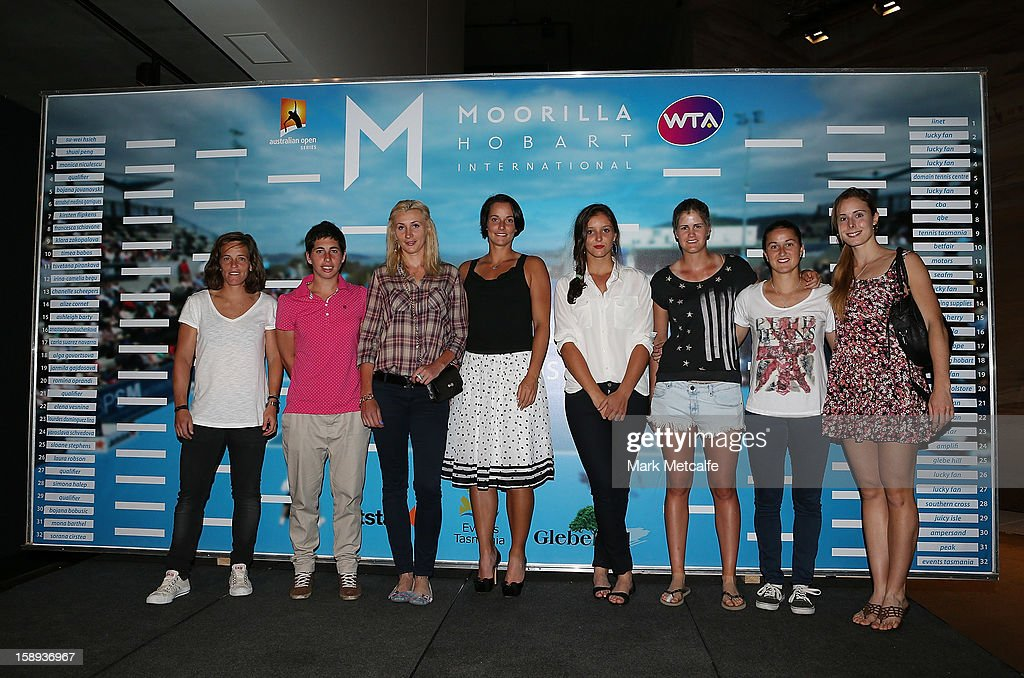Players pose during the official Hobart International tournament draw held at the MONA gallery on January 4, 2013 in Hobart, Australia.