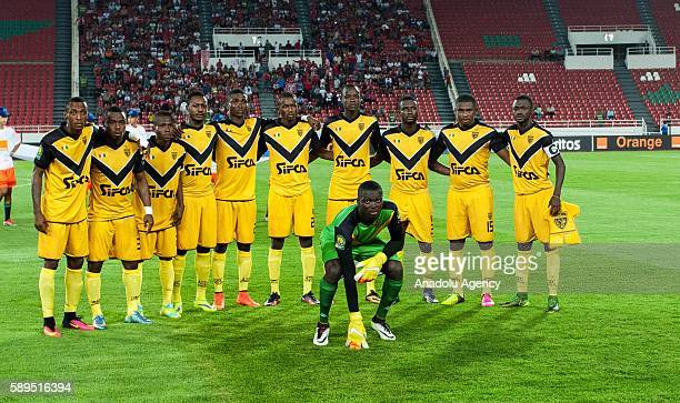 ASEC players pose for a team photo prior to the Group A match of CAF Champions League between Wydad Casablanca and ASEC at the Prince Moulay Abdellah...
