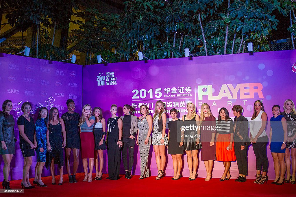 Players pose for group photo during the player party on day 1 of Huajin Securities WTA Elite Trophy Zhuhai at Sheraton Zhuhai Hotel on November 2...