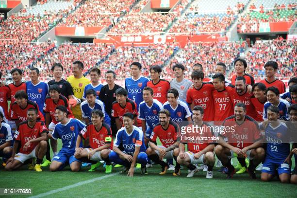 Players pose for photograph prior to the Keita Suzuki testimonial match between Reds Legends and Blue Friends at Saitama Stadium on July 17 2017 in...