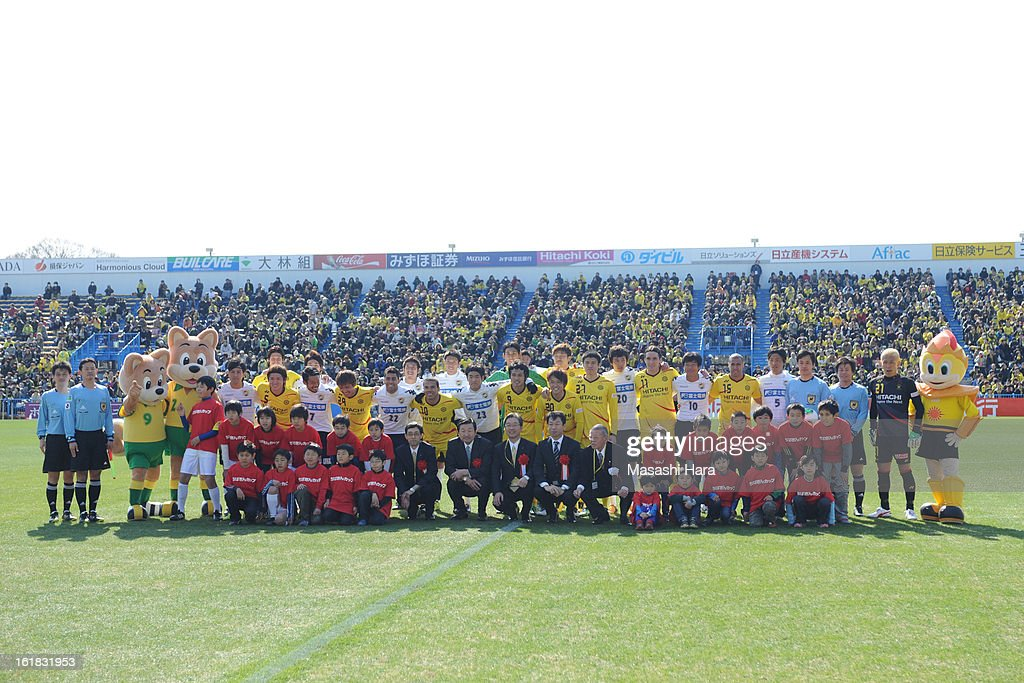 Players pose for photograph prior to the pre season friendly between Kashiwa Reysol and JEF United Chiba at Hitachi Kashiwa Soccer Stadium on February 17, 2013 in Kashiwa, Japan.