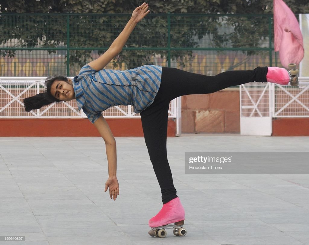 Players practice ahead of the 50th National Artistic Skating Championship 2013, being held at Noida Sports Stadium at Sector 21A, on January 17, 2013 in Noida, India. The Championship is scheduled from January 18 to 21.