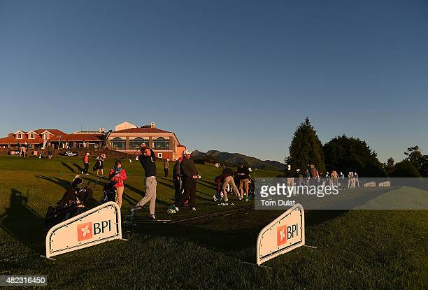 Players practice on the driving range during day one of the Madeira Islands Open Portugal BPI at Club de Golf do Santo da Serra on July 30 2015 in...