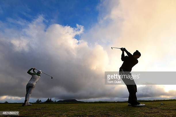 Players practice on the driving range during day two of the Madeira Islands Open Portugal BPI at Club de Golf do Santo da Serra on July 31 2015 in...