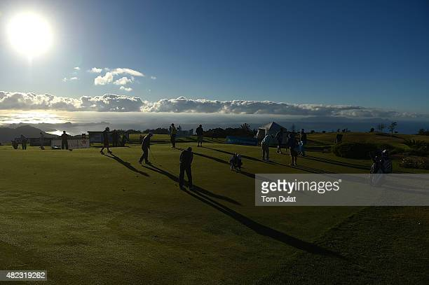 Players practice on the putting green during day one of the Madeira Islands Open Portugal BPI at Club de Golf do Santo da Serra on July 30 2015 in...
