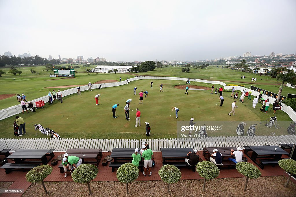 Players practice putting before teeing off in the first round of The Nelson Mandela Championship presented by ISPS Handa at Royal Durban Golf Club on December 8, 2012 in Durban, South Africa.
