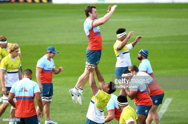 Players practice their lineouts during an Australian Wallabies training session at Ballymore Stadium on June 20 2017 in Brisbane Australia