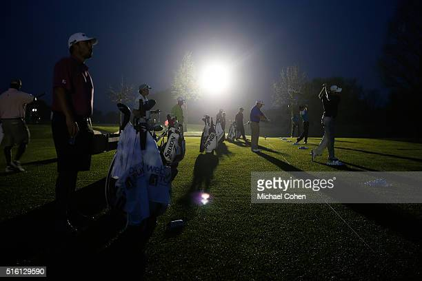 Players practice under floodlights prior to the start of the first round of the Chitimacha Louisiana Open presented by NACHER held at Le Triomphe...