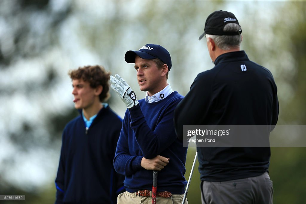 Players prepare before their round during the PGA Professional Championship East Qualifier at Gog Magog Golf Club on May 3, 2016 in Cambridge, England.