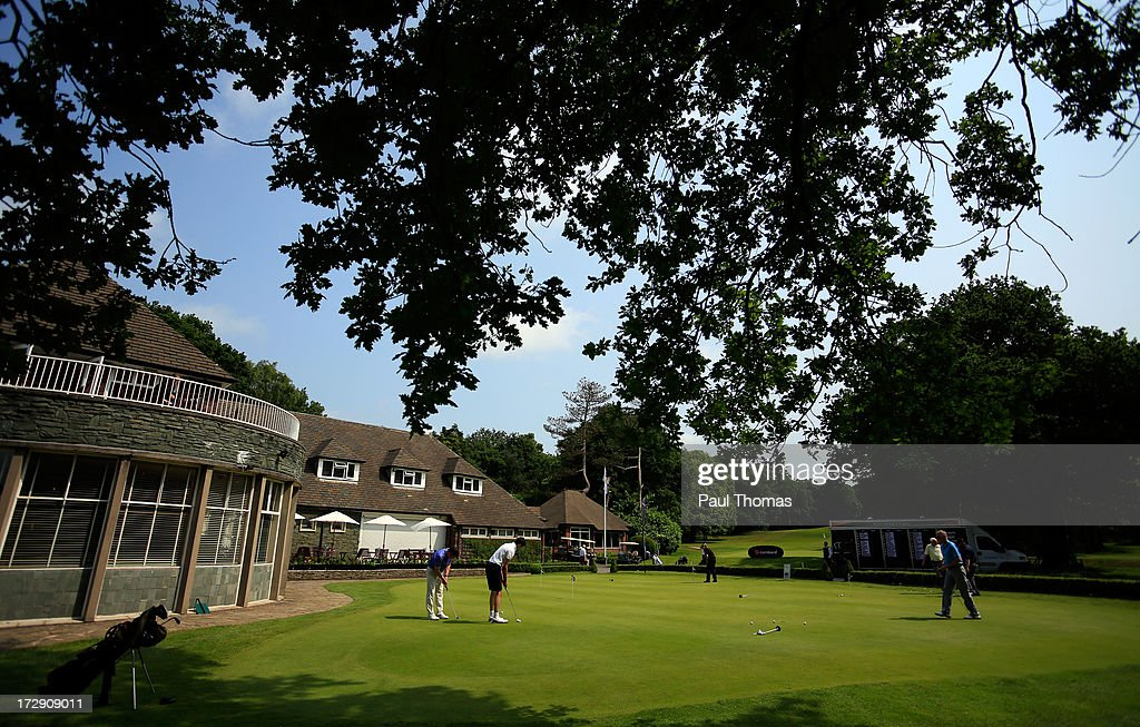 Players putt on the practice green during the Lombard Trophy PGA National Pro-Am Championship Regional Final at Dunham Forest Golf and Country Golf Club on July 5, 2013 in Manchester, England.