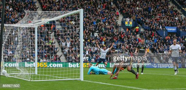 Players react after Preston North End's Josh Harrop cross ended up in the back of the net during the Sky Bet Championship match between Preston North...