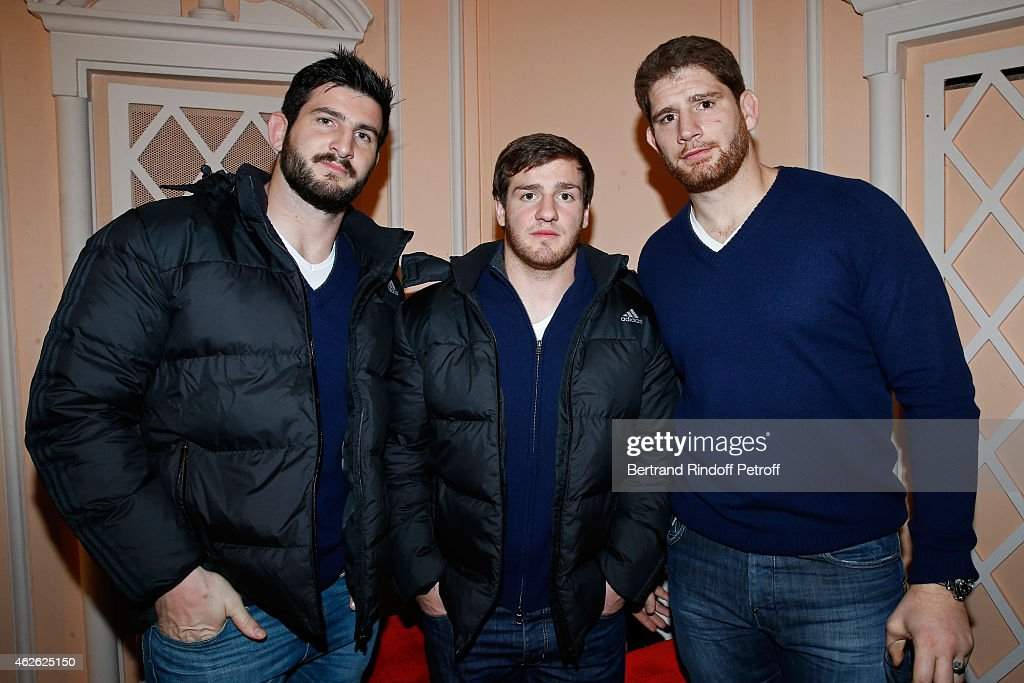 Players Remi Tales, Camille Lopez and Pascal pape attend France Rugby Team for '2015, 6 Nations Tournament' is Guest of Honor at Hibernatus Theater Play on January 31, 2015 in Paris, France.