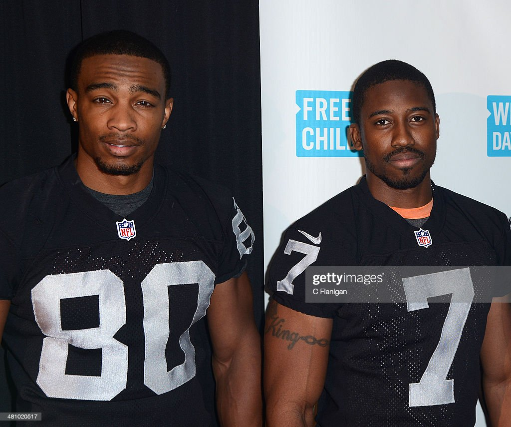 NFL players <a gi-track='captionPersonalityLinkClicked' href=/galleries/search?phrase=Rod+Streater&family=editorial&specificpeople=8310726 ng-click='$event.stopPropagation()'>Rod Streater</a> and <a gi-track='captionPersonalityLinkClicked' href=/galleries/search?phrase=Marquette+King&family=editorial&specificpeople=9636689 ng-click='$event.stopPropagation()'>Marquette King</a> pose backstage during the 1st Annual 'We Day' California at ORACLE Arena on March 26, 2014 in Oakland, California.