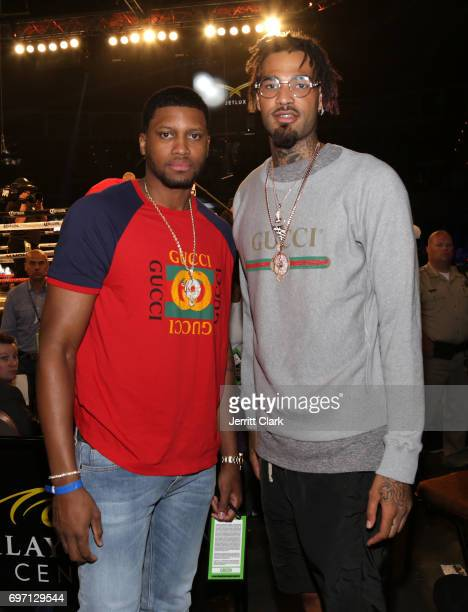 NBA players Rudy Gay and Willie CauleyStein attends The D'USSE Lounge At WardKovalev 2 'The Rematch' on June 17 2017 in Las Vegas Nevada