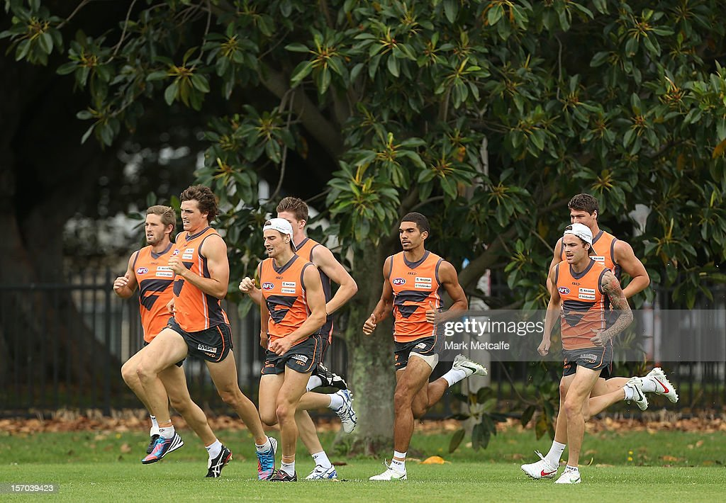 GWS players run a drill during a Greater Western Sydney Giants AFL pre-season training session at Lakeside Oval on November 28, 2012 in Sydney, Australia.