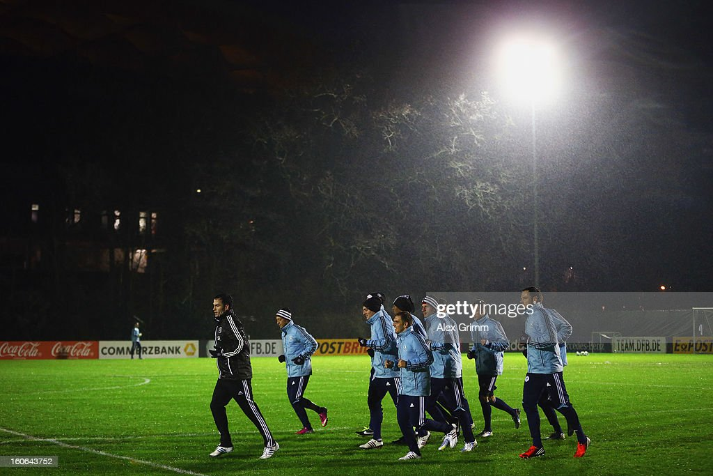 Players run during a Germany training session at Commerzbank-Arena on February 4, 2013 in Frankfurt am Main, Germany.