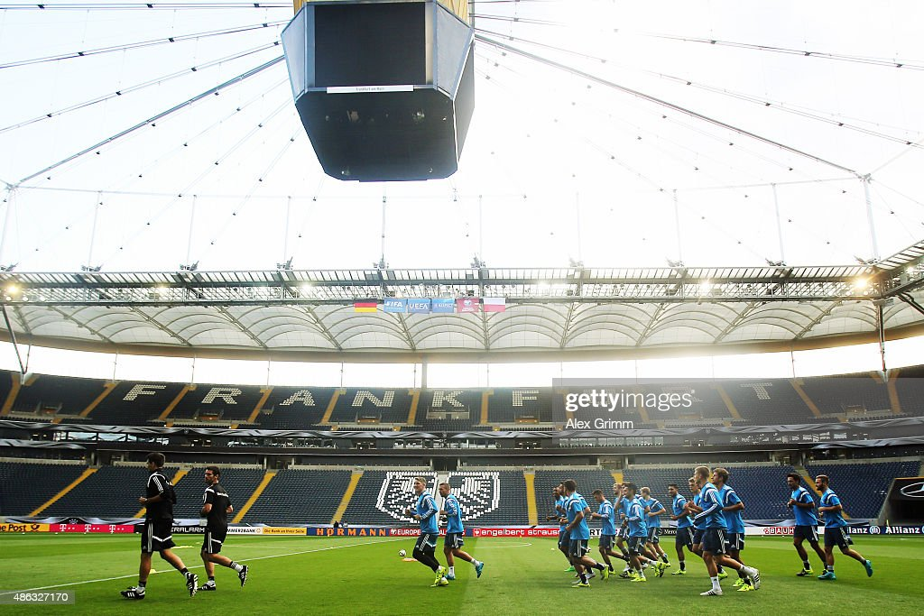 Players run during a Germany training session at CommerzbankArena on September 3 2015 in Frankfurt am Main Germany
