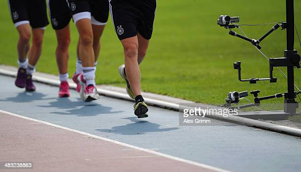 Players run during a Germany women's national team performance test on April 7 2014 in Mannheim Germany