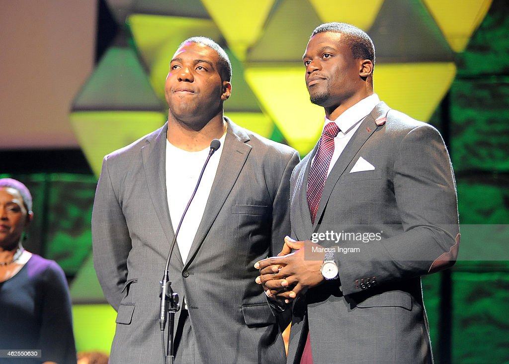 NFL players <a gi-track='captionPersonalityLinkClicked' href=/galleries/search?phrase=Russell+Okung&family=editorial&specificpeople=4046517 ng-click='$event.stopPropagation()'>Russell Okung</a> (L) and <a gi-track='captionPersonalityLinkClicked' href=/galleries/search?phrase=Benjamin+Watson+-+American+Football+Player&family=editorial&specificpeople=15154817 ng-click='$event.stopPropagation()'>Benjamin Watson</a> speak onstage during the 16th Annual Super Bowl Gospel Celebration at ASU Gammage on January 30, 2015 in Tempe, Arizona.