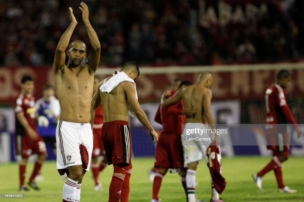Players say goodbye to the public after a match between Caracas FC and Fluminense as part of the 2013 Copa Bridgestone Libertadores at the Olympic Stadium on February 13, 2013 in Caracas, Venezuela.