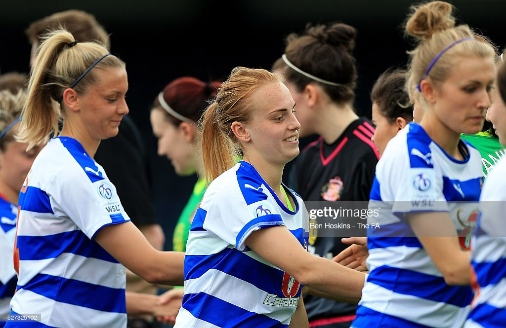 Players shake hands ahead of the WSL 1 match between Reading FC Women and Sunderland AFC Ladies on May 2, 2016 in High Wycombe, England.