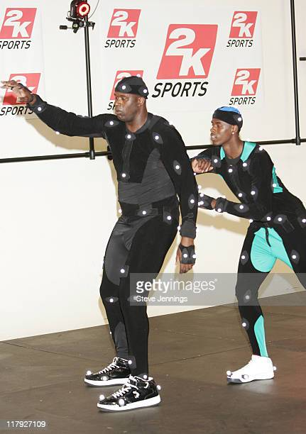 NBA players Shaquille O'Neal and Marvin Williams during Shaquille O'Neal and Marvin Williams MOCAP Session at Visual Concepts in San Rafael...
