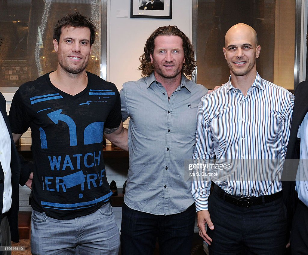 NHL players <a gi-track='captionPersonalityLinkClicked' href=/galleries/search?phrase=Shea+Weber&family=editorial&specificpeople=554412 ng-click='$event.stopPropagation()'>Shea Weber</a> (L) and <a gi-track='captionPersonalityLinkClicked' href=/galleries/search?phrase=Scott+Hartnell&family=editorial&specificpeople=201889 ng-click='$event.stopPropagation()'>Scott Hartnell</a> (C) attend John Varvatos event as part of 2013 NHL/NHLPA Player Media Tour on September 4, 2013 in New York City.