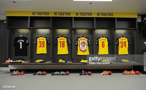 Players shirts hang in the Arsenal changing room prior to the FA Cup Final between Aston Villa and Arsenal at Wembley Stadium on May 30 2015 in...