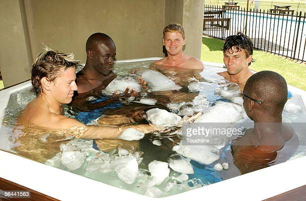 Players soak in an ice bath during the ICC Winter Training Camp at the High Performance Centre on December 16 2005 in Pretoria South Africa