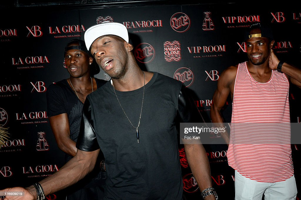 OM players Souleymane Diawara Rod Fanni and a Footballer attend the Mosey DJ Set at the VIP Room in Saint Tropez on August 18 2013 in Saint Tropez...
