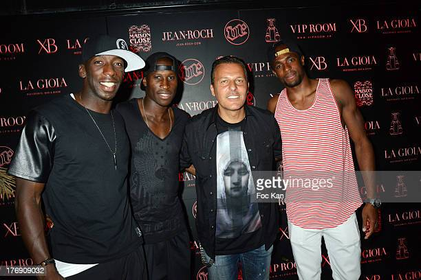 players Souleymane Diawara Rod Fanni Jean Roch Pedri and a Footballer attend the Mosey DJ Set at the VIP Room in Saint Tropez on August 18 2013 in...