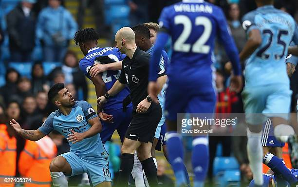 Players squre off after David Luiz of Chelsea is fouled by Sergio Aguero of Manchester City during during the Premier League match between Manchester...