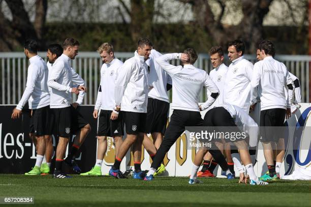 Players stand during training of German national team ahead of the FIFA World Cup qualification match 2018 against Azerbaijan on March 24 2017 in...