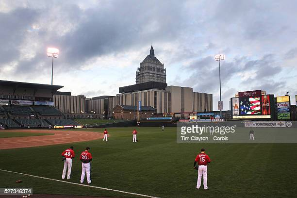 Players stand for the National Anthem before the Rochester Red Wings V The Scranton/WilkesBarre RailRiders Minor League ball game at Frontier Field...